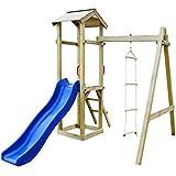 vidaXL Parque Infantil con Tobogán y Escaleras de Madera Juego de Exteriores