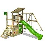 FATMOOSE Parque infantil de madera FruityForest con columpio y tobogán, Torre de...
