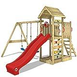 WICKEY Parque infantil de madera MultiFlyer con columpio y tobogán rojo, Torre de...