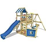 WICKEY Parque infantil de madera SeaFlyer con columpio y tobogán azul, Casa de...