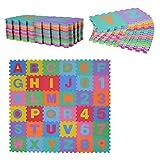 HOMCOM Alfombra Puzzle Infantil 36 Piezas de 31x31cm Números del 0 al 9 y 26 Letras...