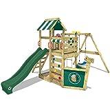 WICKEY Parque infantil de madera SeaFlyer con columpio y tobogán verde, Casa de...
