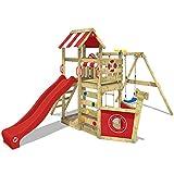 WICKEY Parque infantil de madera SeaFlyer con columpio y tobogán rojo, Casa de...