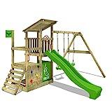 FATMOOSE Parque infantil de madera FruityForest con columpio y tobogán manzana...