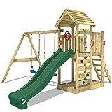 WICKEY Parque infantil de madera MultiFlyer con columpio y tobogán verde, Torre de...